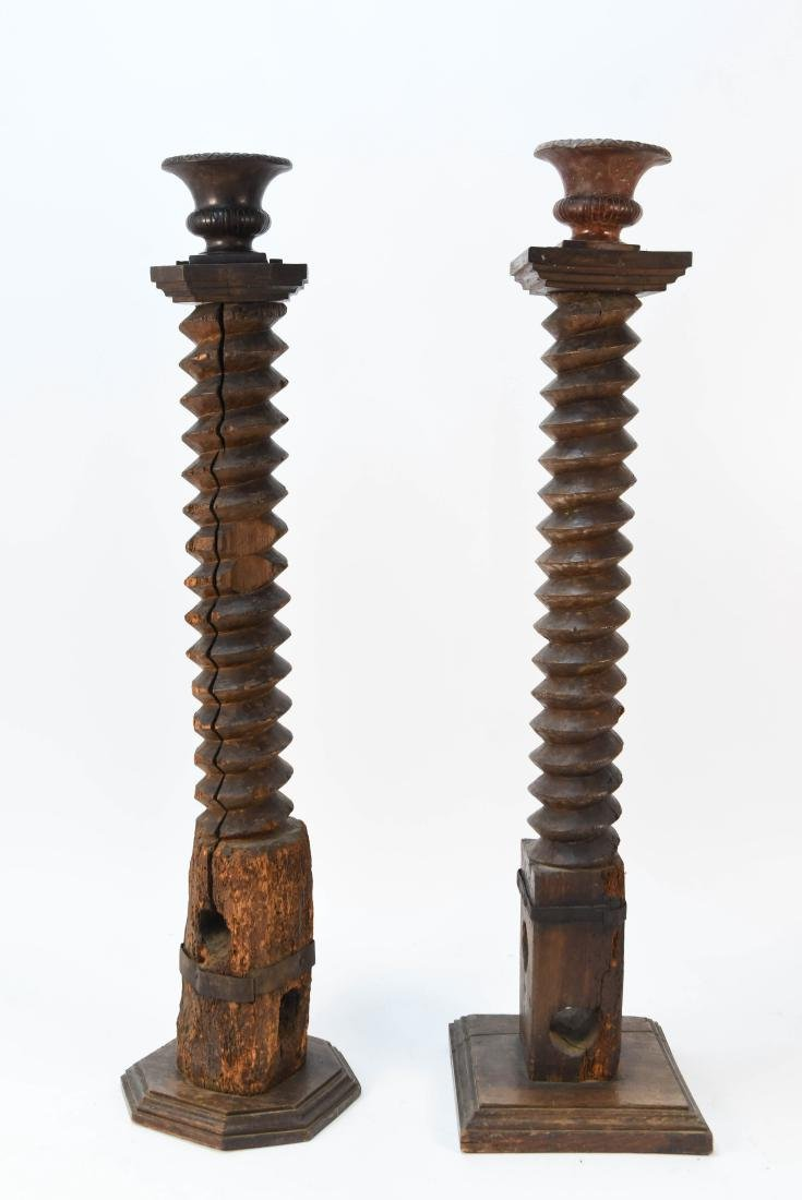 (2) OLD EUROPEAN CARVED WOODEN AUGERS