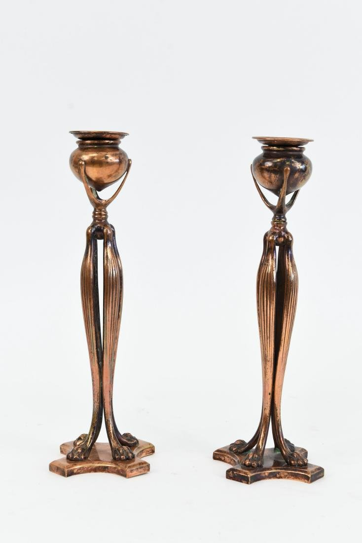"""PAIR OF TIFFANY STUDIOS """"CATS PAW"""" CANDLE STICKS"""