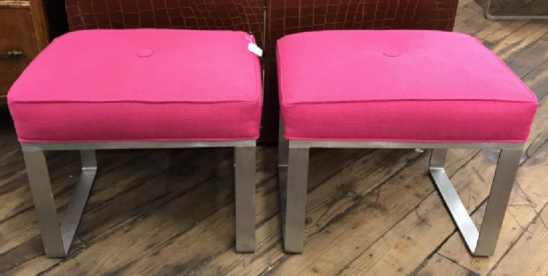 PAIR OF PINK UPHOLSTERED BENCHES