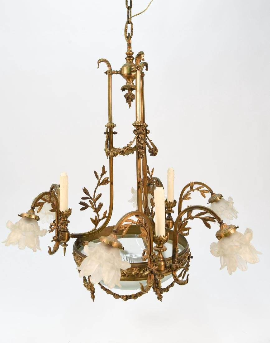 FRENCH STYLE BRONZE & GLASS FLOWER CHANDELIER