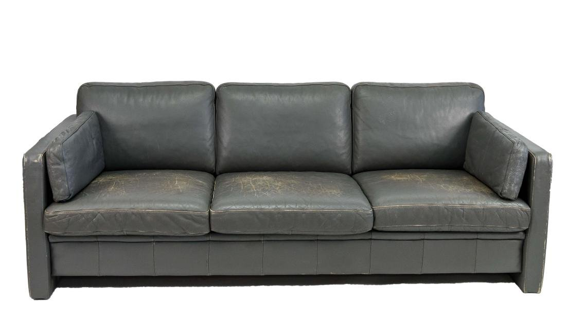 MOGENS HANSEN GRAY LEATHER 3-SEAT SOFA