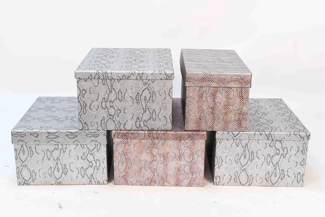 CARLO RAMPAZZI (5) METALLIC FAUX SNAKESKIN BOXES