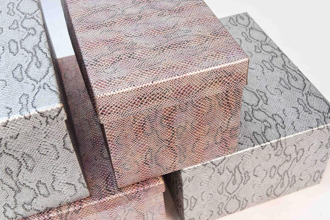 CARLO RAMPAZZI (5) METALLIC FAUX SNAKESKIN BOXES - 3