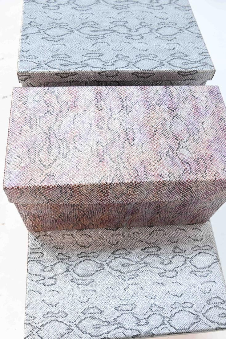 CARLO RAMPAZZI (5) METALLIC FAUX SNAKESKIN BOXES - 4