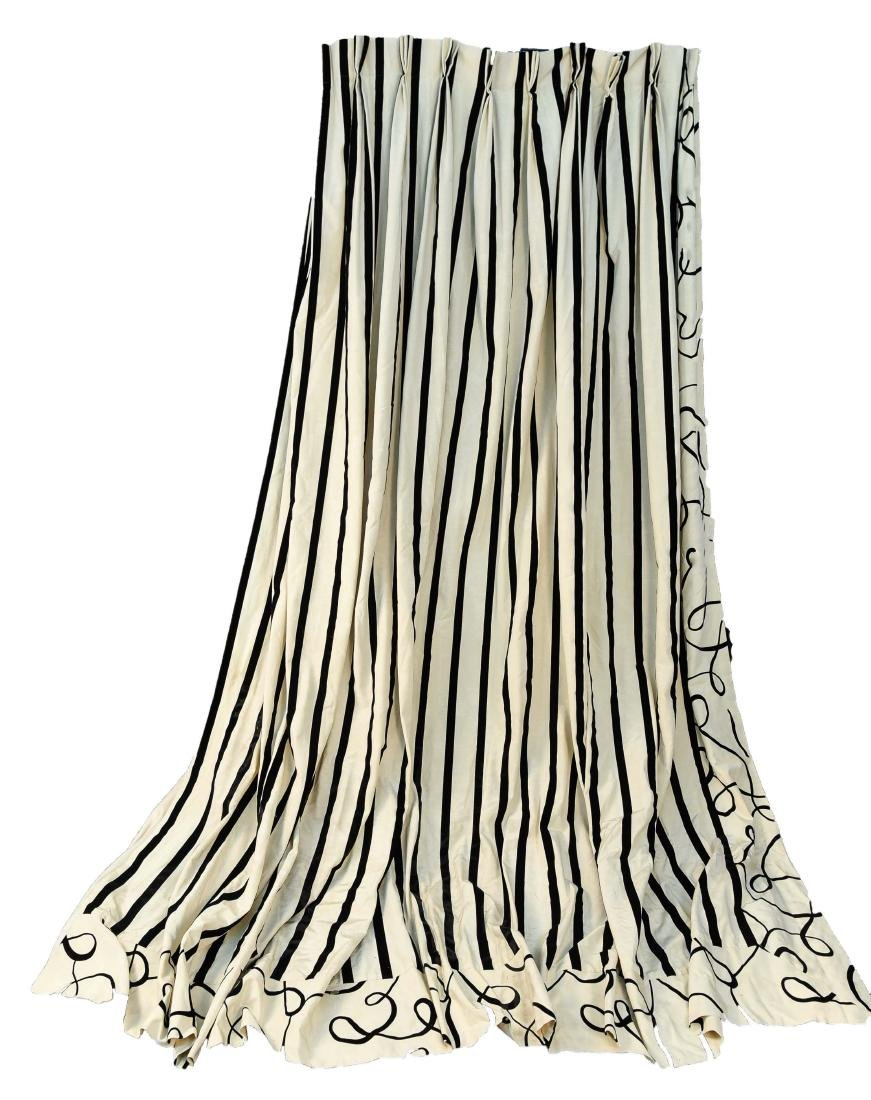 (9) CARLO RAMPAZZI BLACK & WHITE CURTAIN PANELS