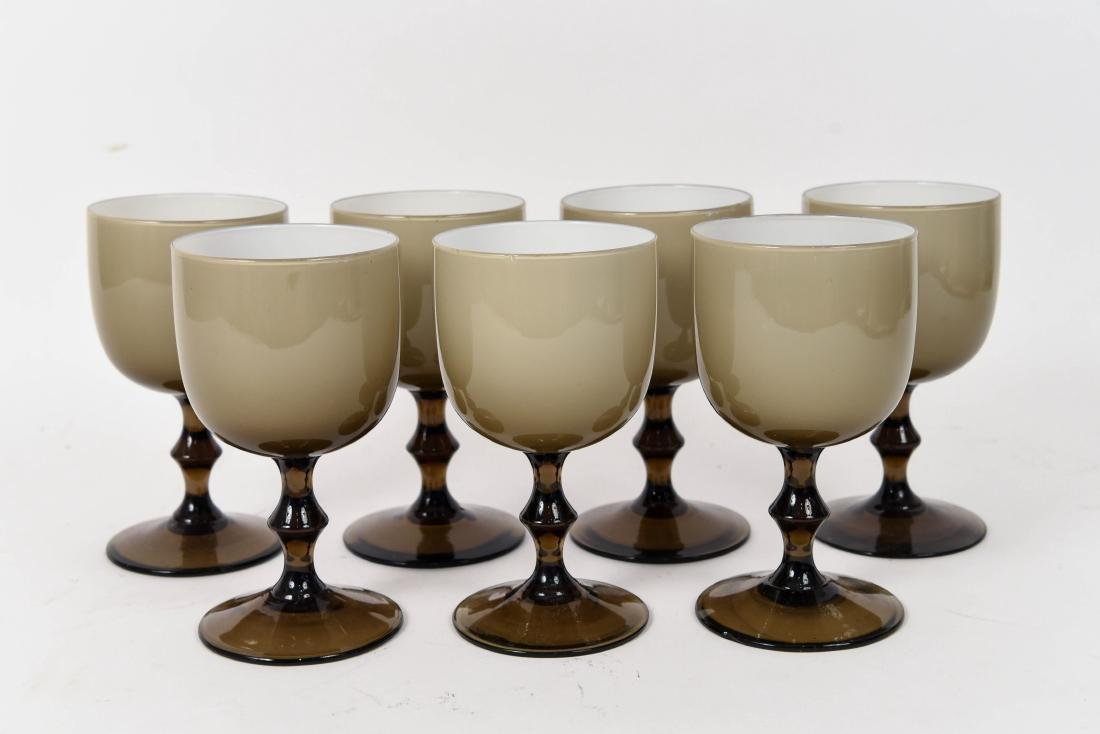 (7) CARLO MORETTI CASED GLASS GOBLETS