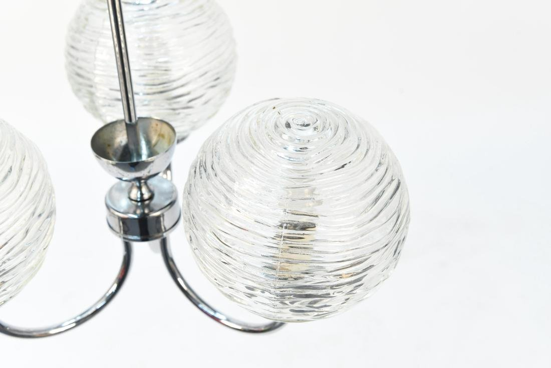 ITALIAN CHROME & GLASS MODERN CHANDELIER - 3