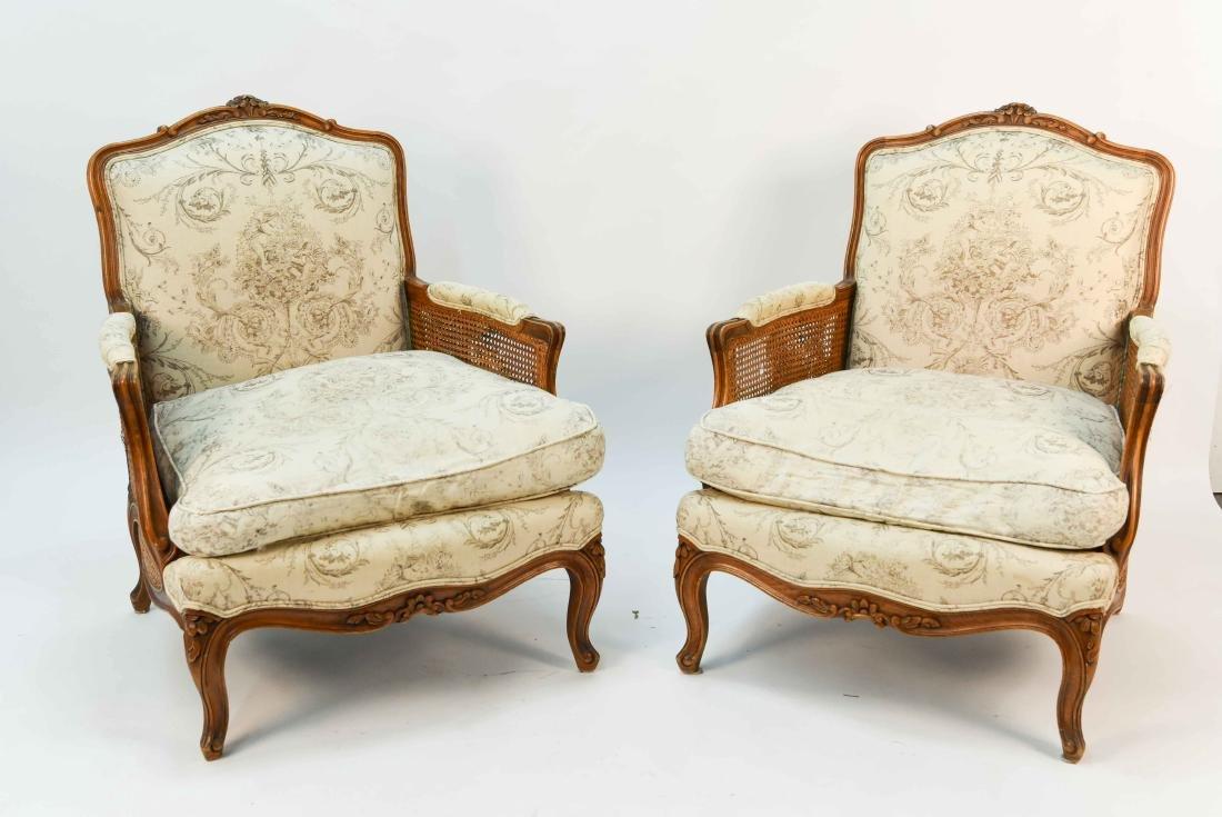 PAIR OF FRENCH CANED ARM CHAIRS