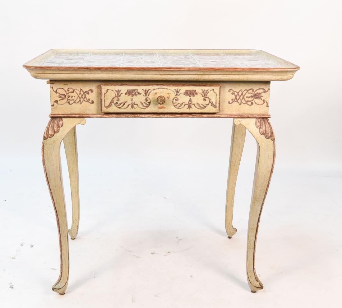 18TH C. ROCOCO TABLE W/ DUTCH TILES