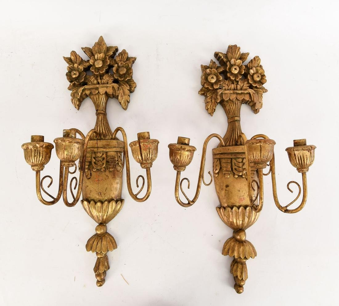 PAIR OF GILT CARVED WOOD WALL SCONCES