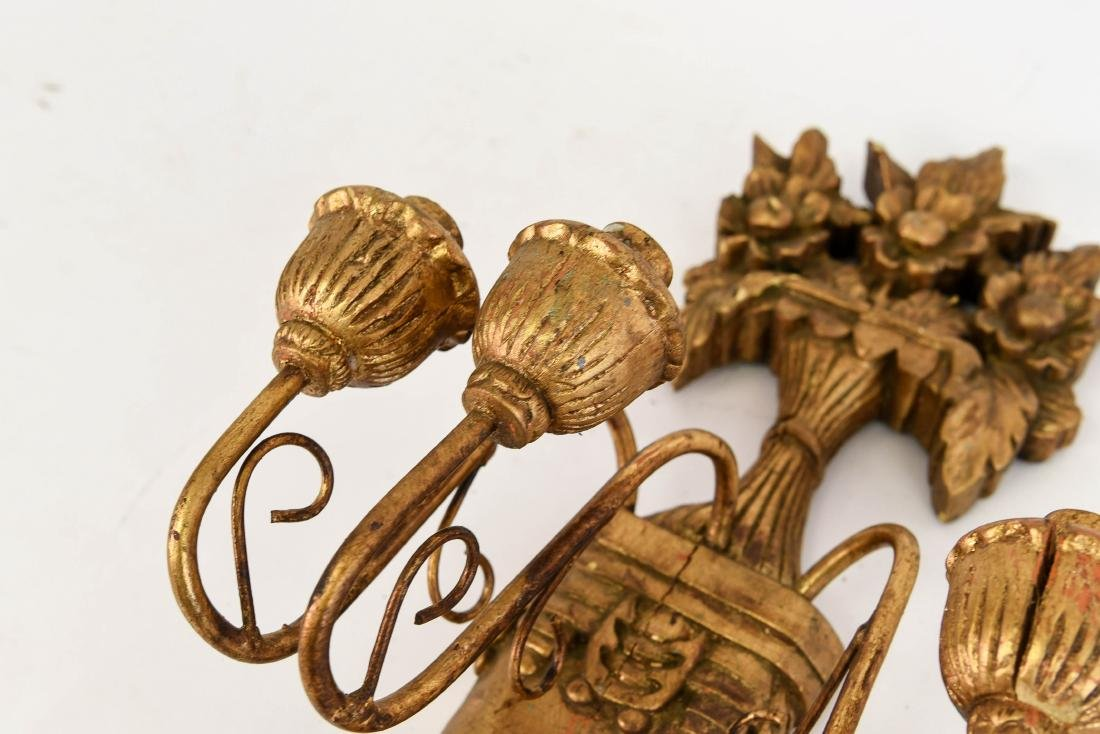 PAIR OF GILT CARVED WOOD WALL SCONCES - 4