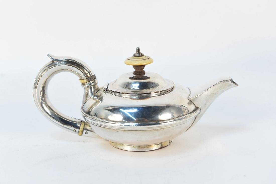 EARLY 19TH C. SILVER ON COPPER MINIATURE TEAPOT