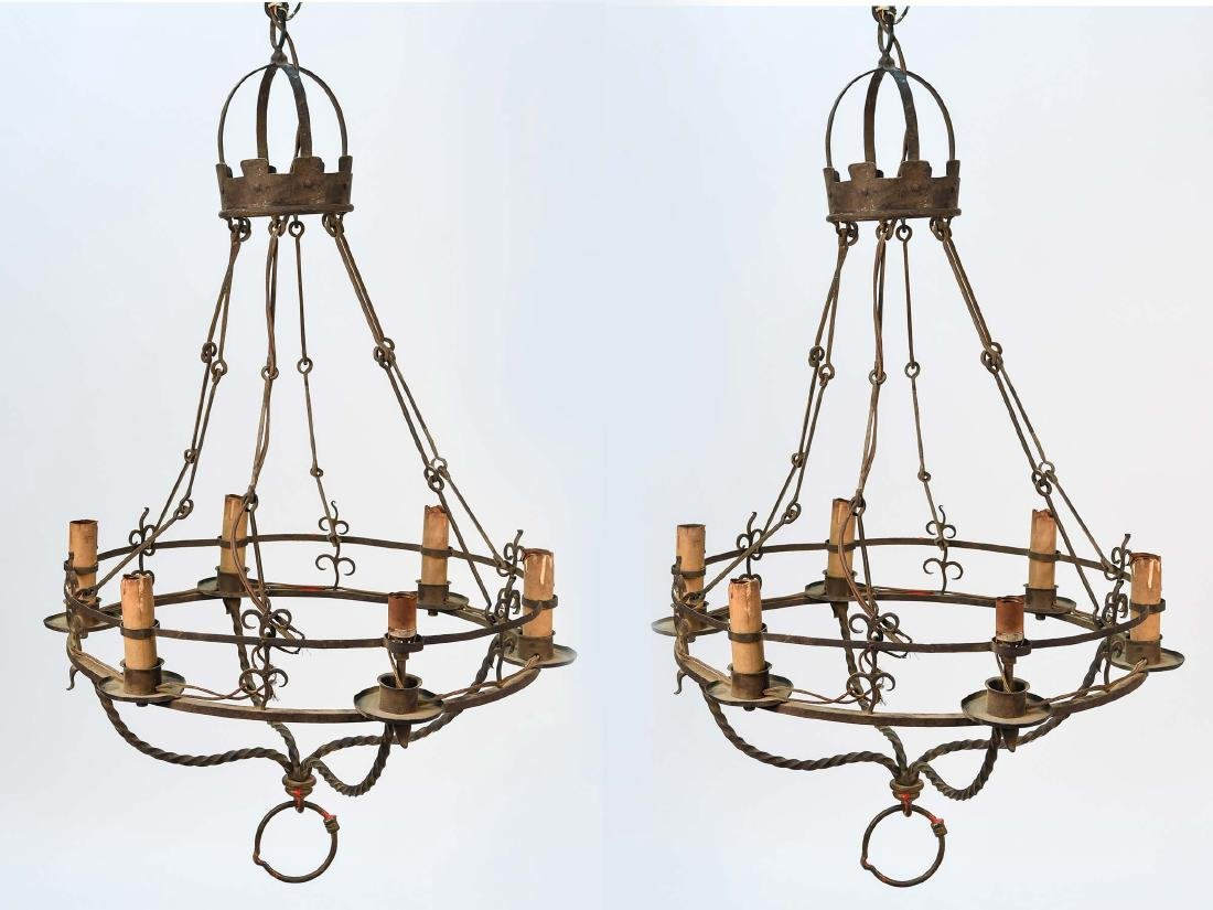 TWO WROUGHT IRON CHANDELIERS