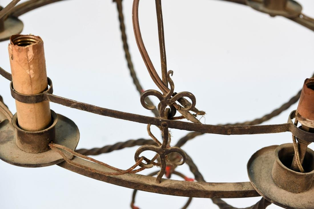 TWO WROUGHT IRON CHANDELIERS - 8