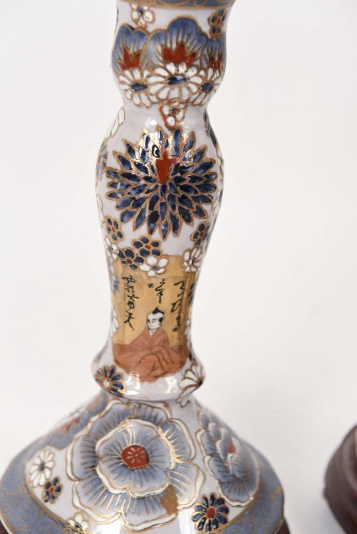 PAIR OF SATSUMA PORCELAIN LAMPS - 4