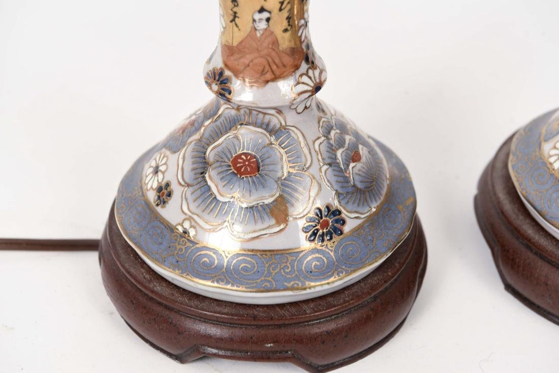 PAIR OF SATSUMA PORCELAIN LAMPS - 5