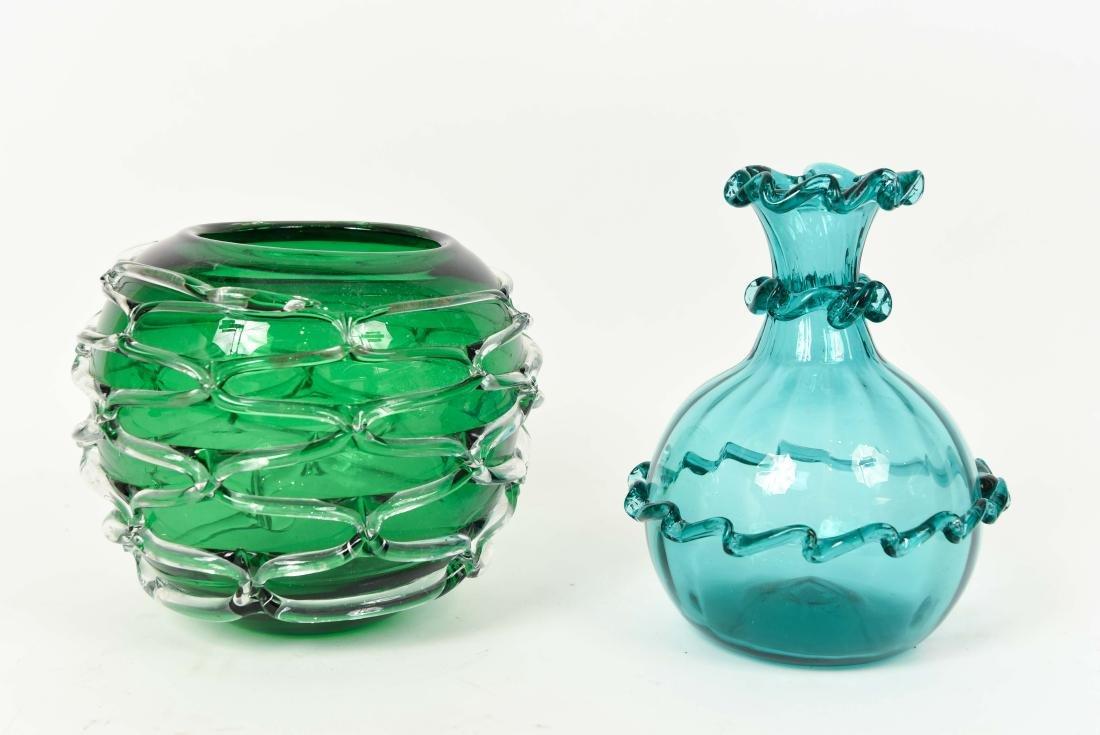 (2) GLASS VASES