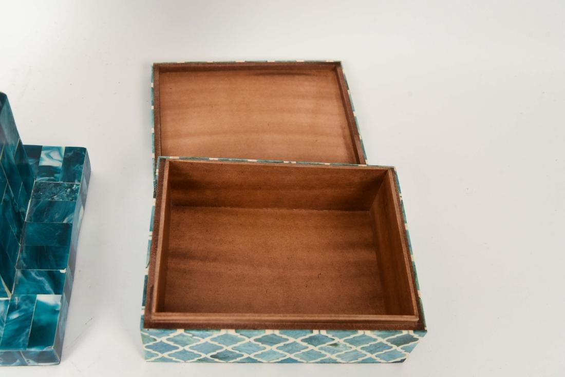FAUX MALACHITE BOX & OBELISK - 7