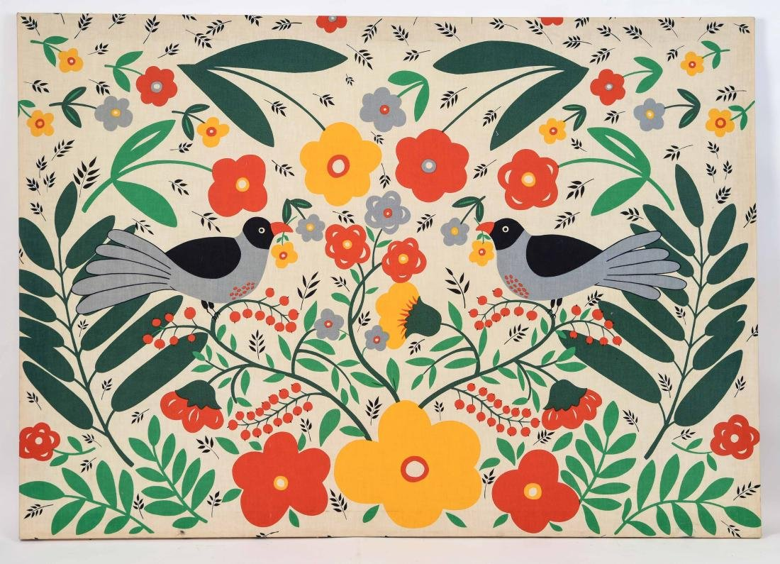 20TH C. FLOWERS AND BIRDS TEXTLE