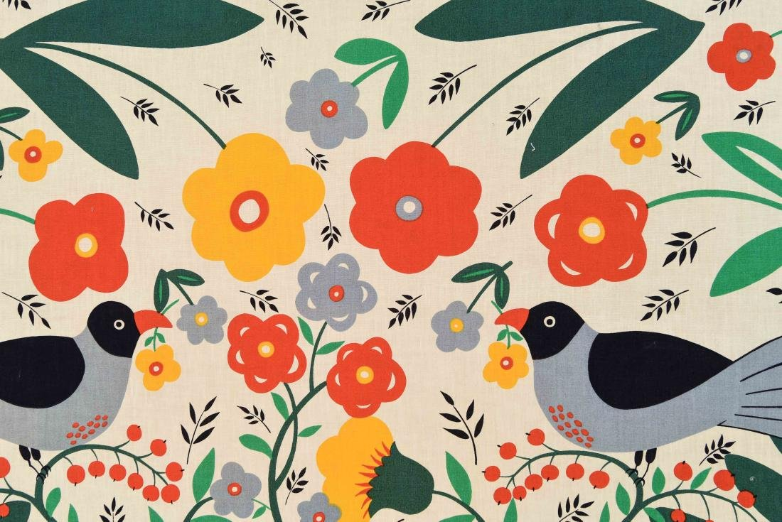 20TH C. FLOWERS AND BIRDS TEXTLE - 4