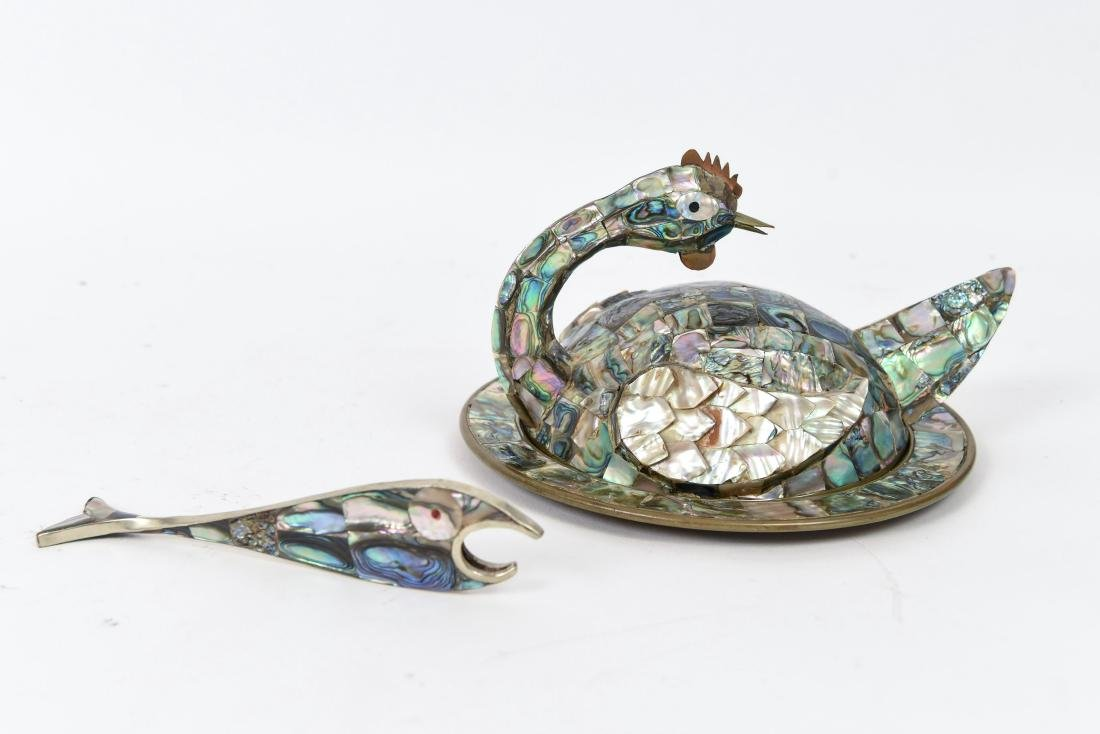 MEXICAN ABALONE BIRD DISH AND BOTTLE OPENER