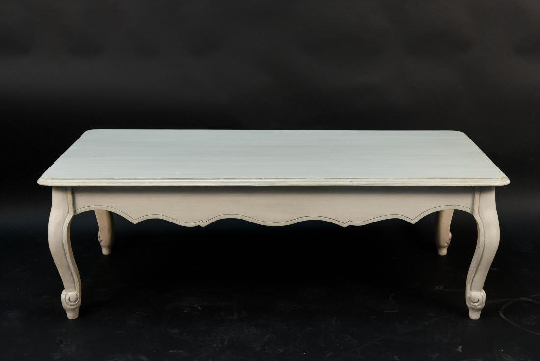 WHITE PAINTED FRENCH STYLE WOODEN COFFEE TABLE