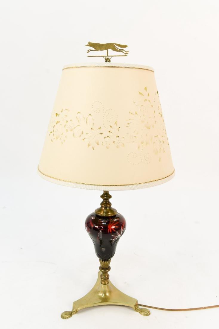 CUT CLEAR CRANBERRY GLASS LAMP