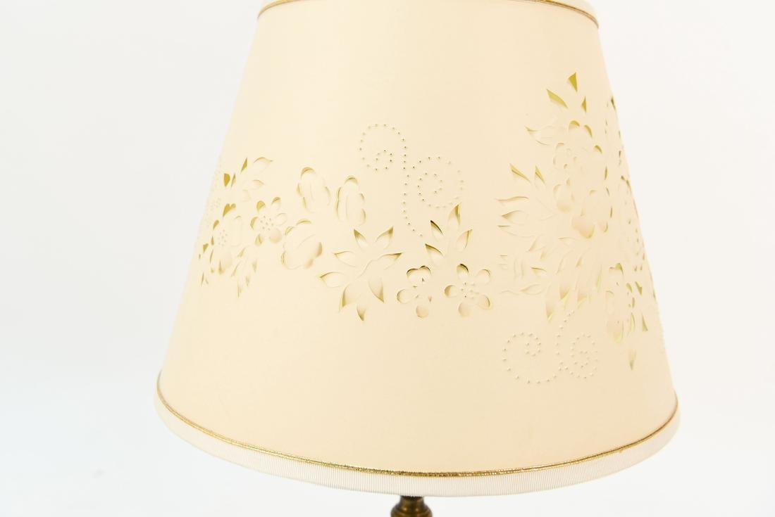 CUT CLEAR CRANBERRY GLASS LAMP - 6