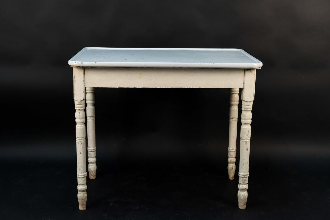 WHITE ENAMEL TOP KITCHEN TABLE