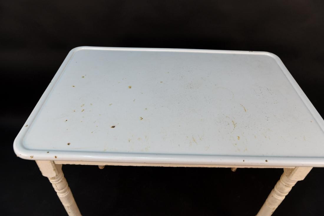 WHITE ENAMEL TOP KITCHEN TABLE - 2