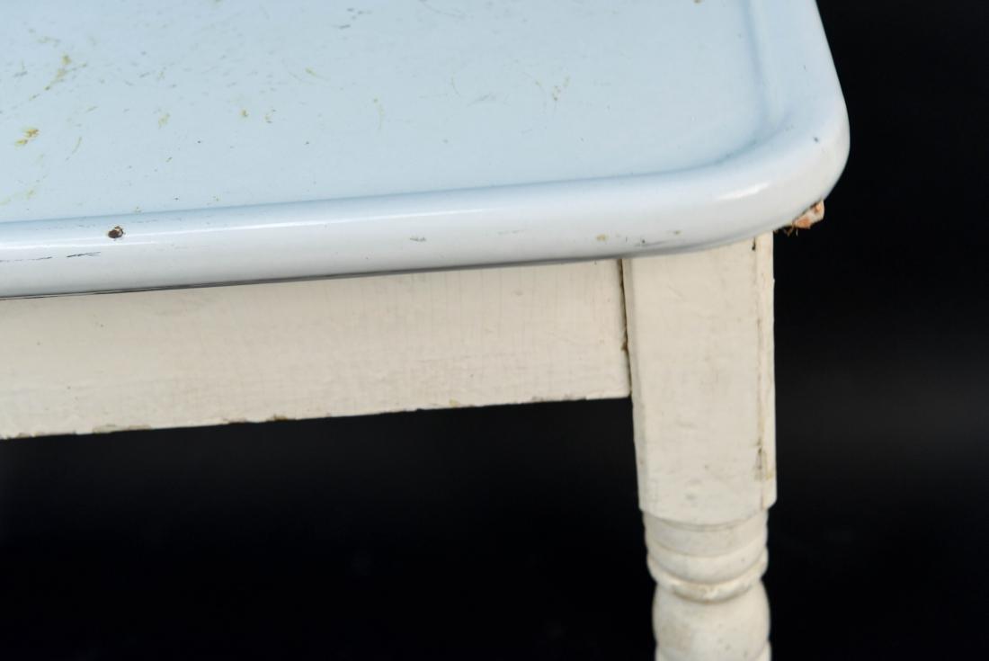 WHITE ENAMEL TOP KITCHEN TABLE - 4