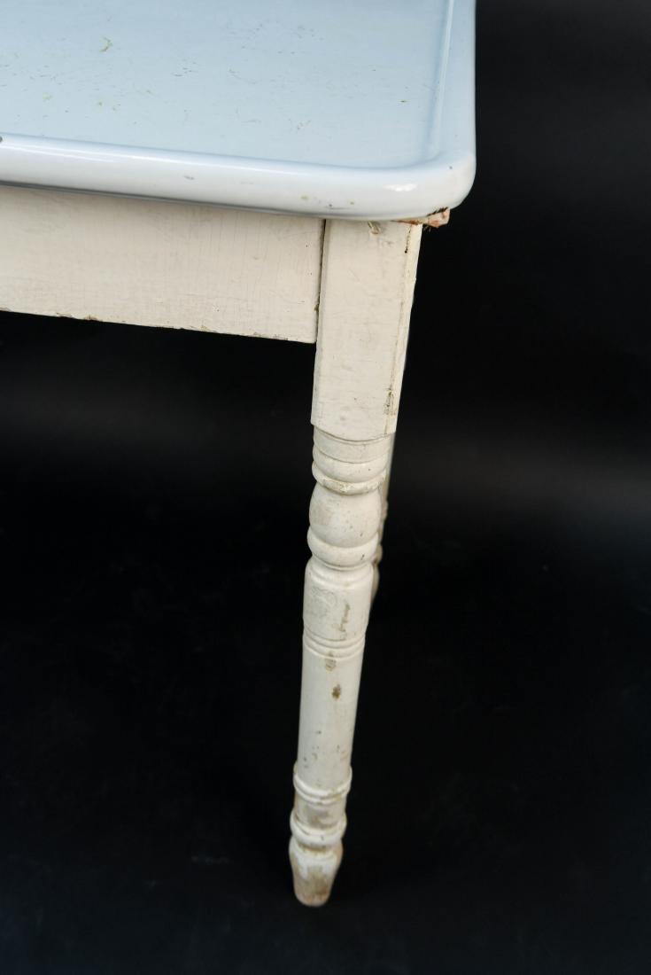WHITE ENAMEL TOP KITCHEN TABLE - 5