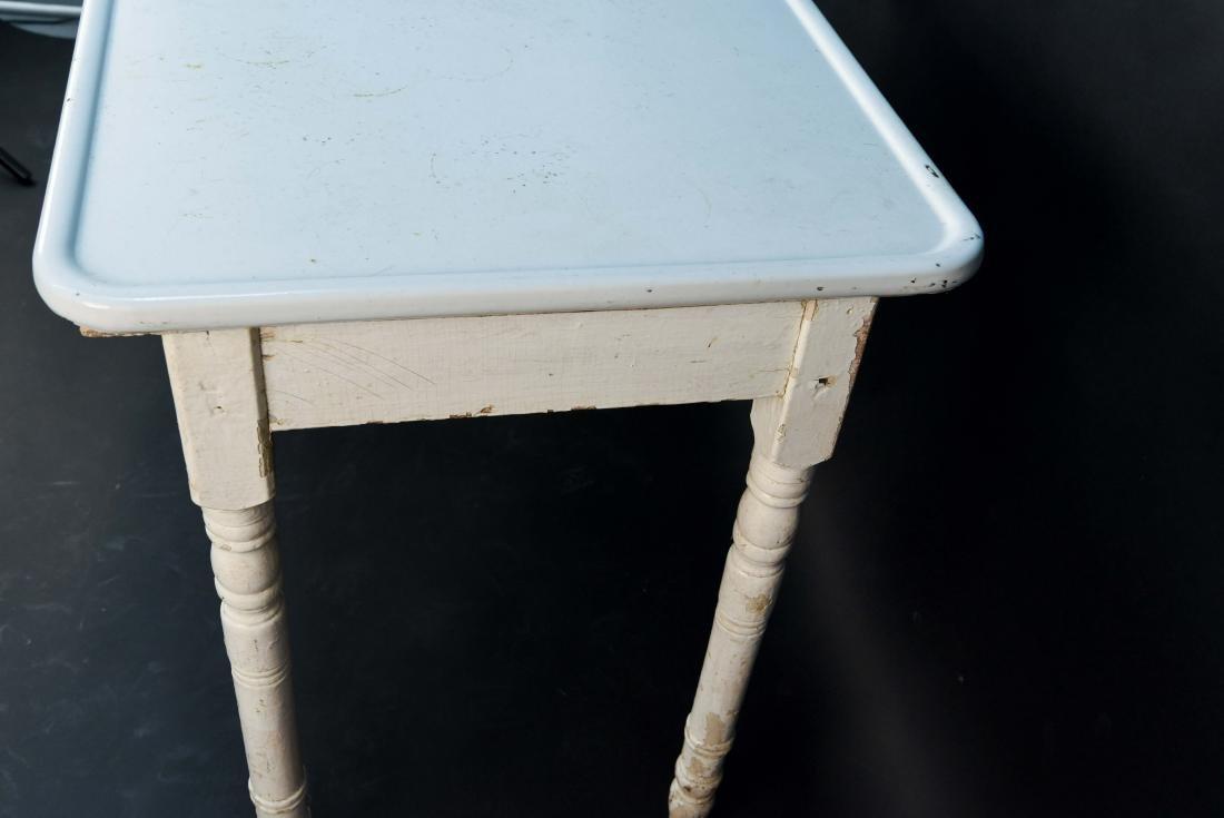 WHITE ENAMEL TOP KITCHEN TABLE - 6