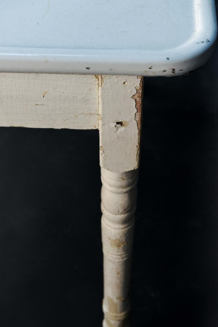 WHITE ENAMEL TOP KITCHEN TABLE - 7