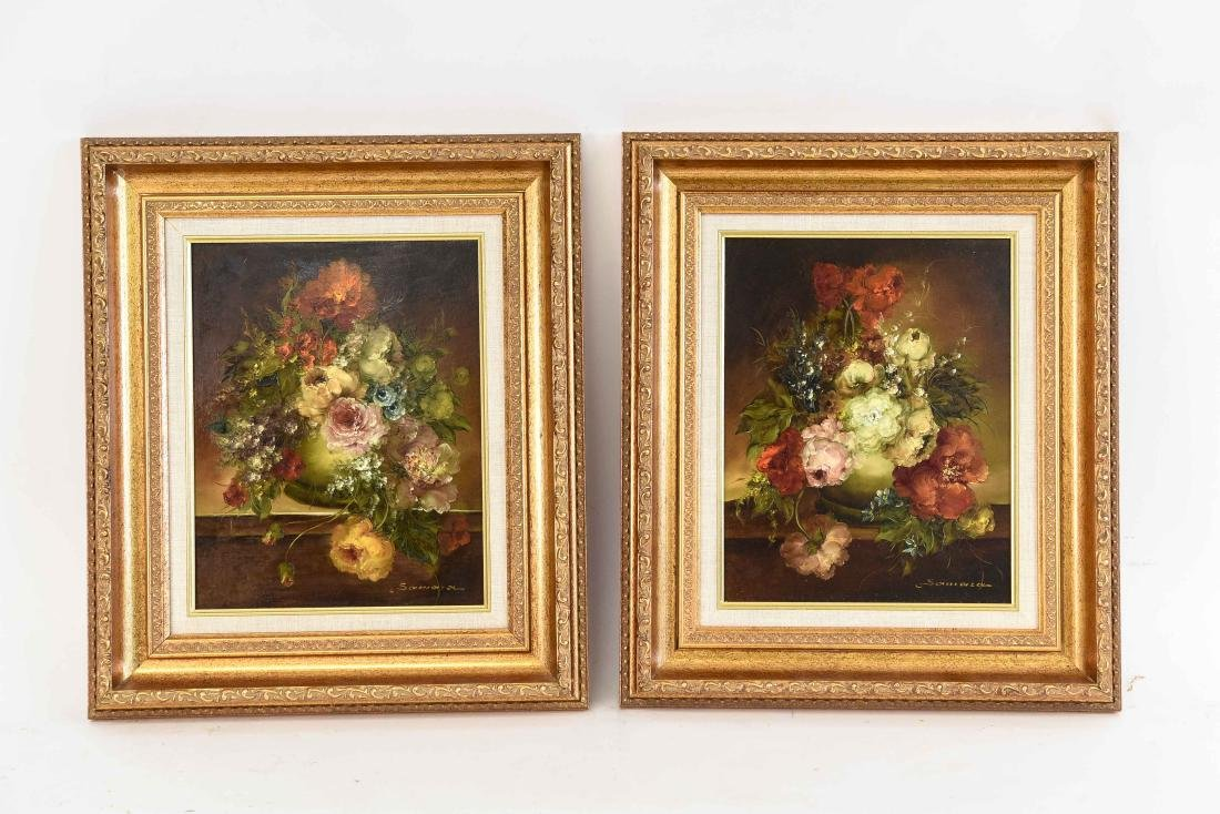 PAIR OF CONTEMPORARY FLORAL FLOWER STILL LIFES