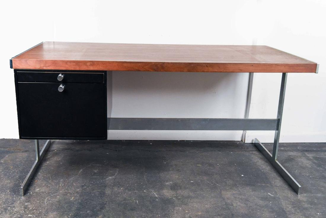 MID-CENTURY ROSEWOOD AND CHROME DESK