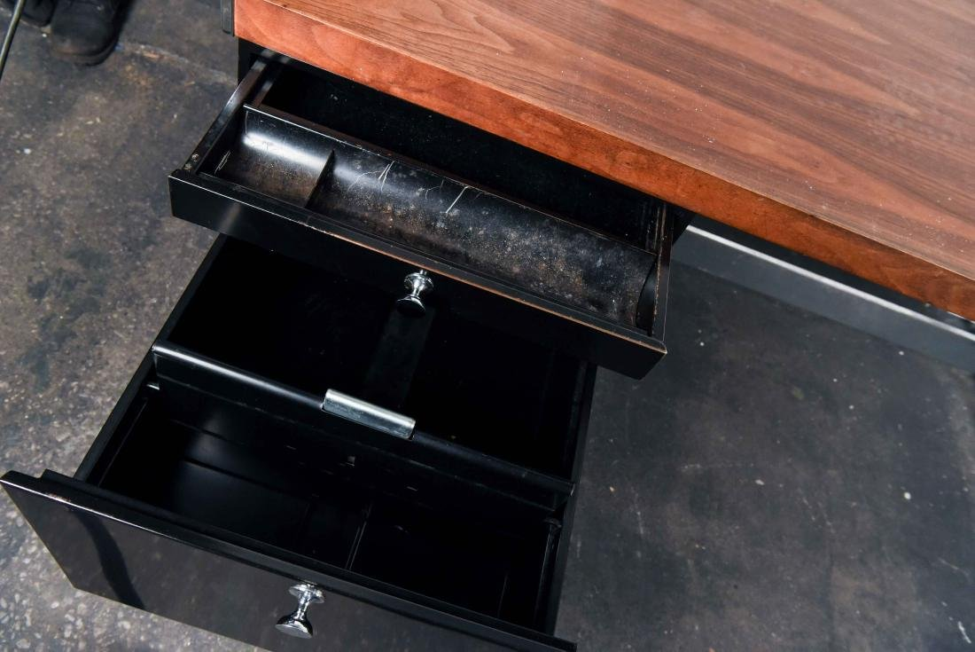 MID-CENTURY ROSEWOOD AND CHROME DESK - 3