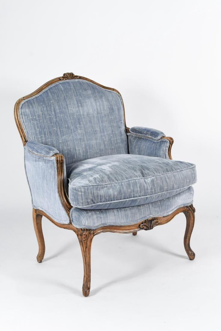 UPHOLSTERED FRENCH BERGERE ARMCHAIR