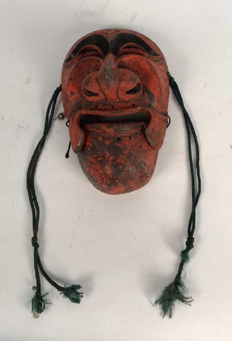 CARVED WOODEN JAPANESE MASK