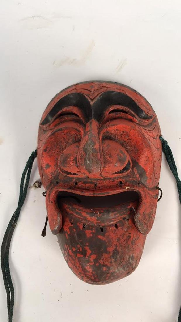 CARVED WOODEN JAPANESE MASK - 2