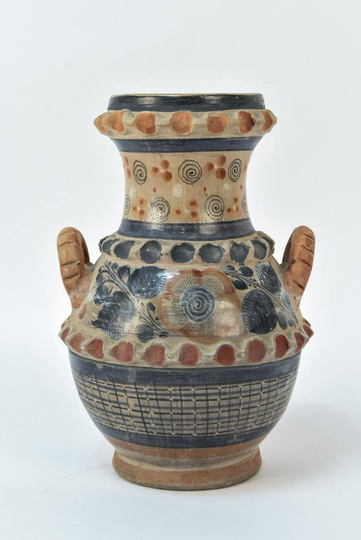 MEXICAN TONALA STYLE POTTERY DOUBLE HANDLE VASE