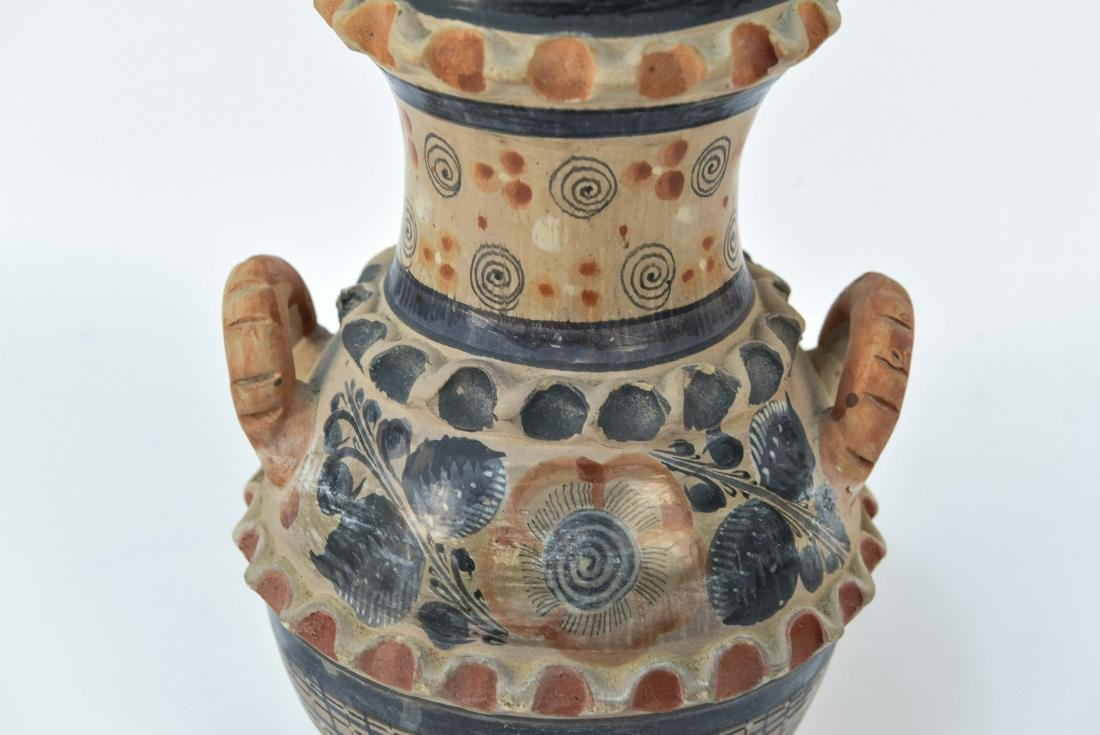MEXICAN TONALA STYLE POTTERY DOUBLE HANDLE VASE - 3