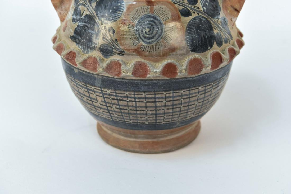 MEXICAN TONALA STYLE POTTERY DOUBLE HANDLE VASE - 4
