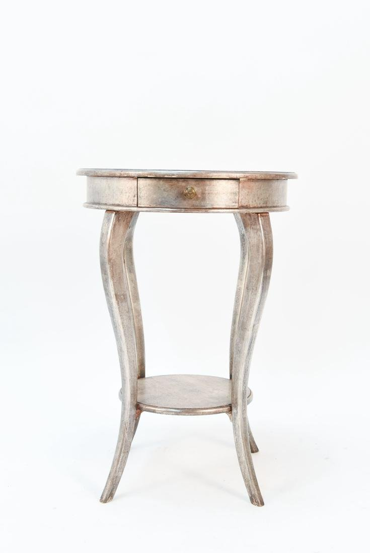 ITALIAN SILVER PAINTED WOOD SIDE TABLE