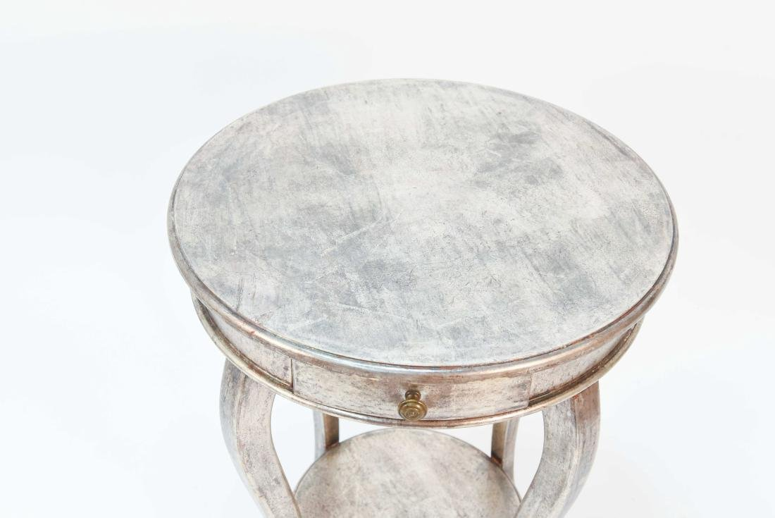 ITALIAN SILVER PAINTED WOOD SIDE TABLE - 2