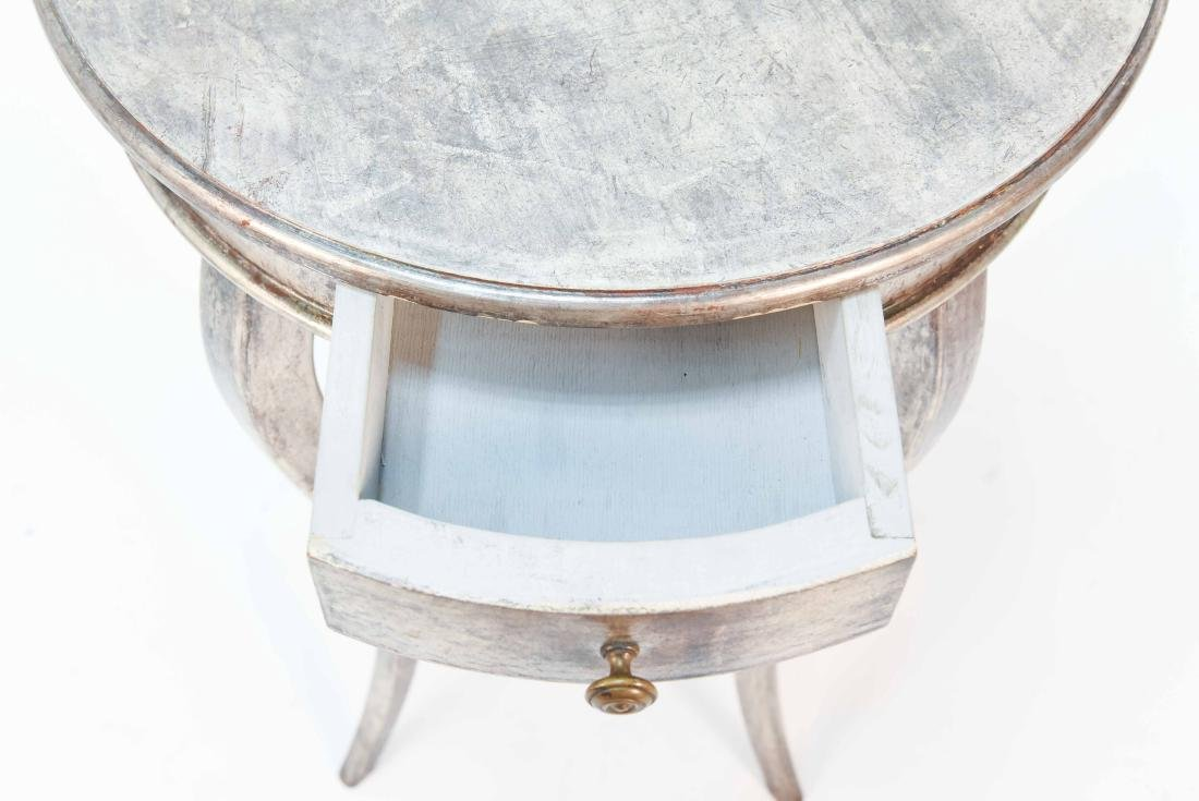 ITALIAN SILVER PAINTED WOOD SIDE TABLE - 3