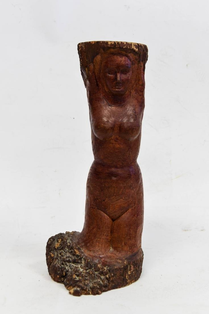 NUDE FIGURAL WOOD CARVING