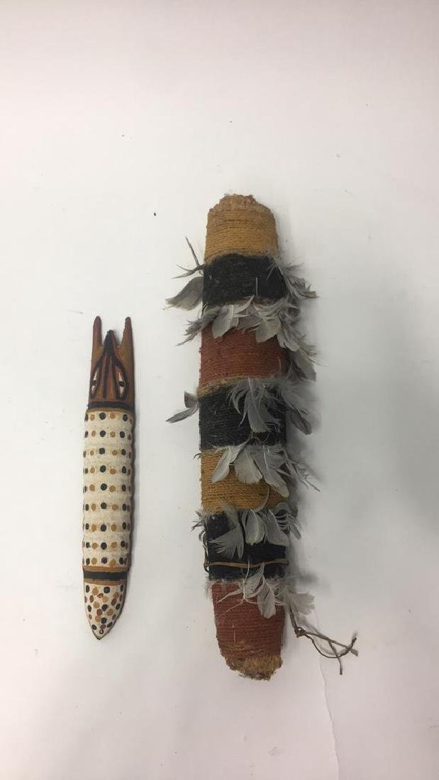 ABORIGINAL RITUAL OBJECT & WOODEN CATERPILLAR