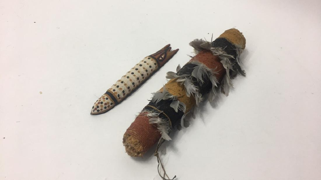 ABORIGINAL RITUAL OBJECT & WOODEN CATERPILLAR - 2