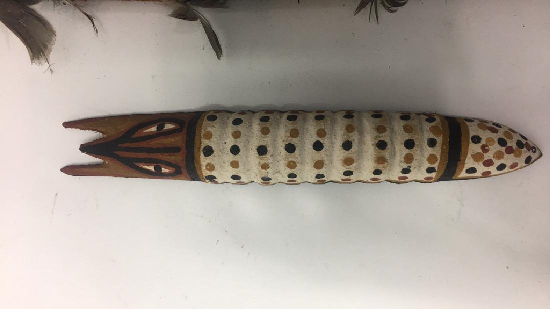 ABORIGINAL RITUAL OBJECT & WOODEN CATERPILLAR - 3